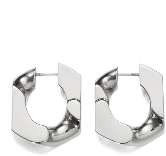Numbering Platinum-Plated Chain Unit Earrings