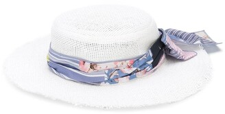 Lapin House Floral-Bow Straw Hat