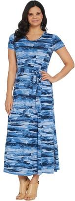 Halston H by Regular Printed Jet Set Jersey Maxi Dress