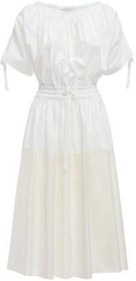 Moncler Cotton Poplin & Nylon Midi Dress