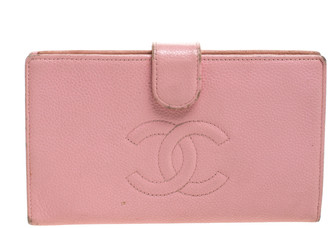 Chanel Pink Leather CC Long French Wallet