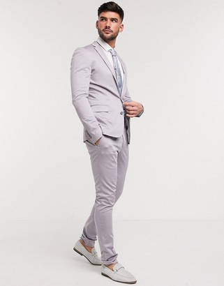 Devils Advocate sateen plain super skinny suit pants