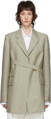 Maison Margiela Green Melange Mohair and Wool Wrap Blazer