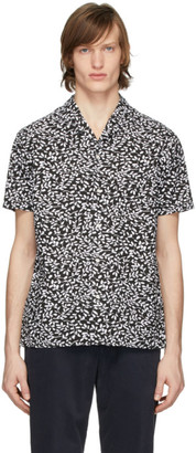 Officine Generale Black and White Seersucker Dario Short Sleeve Shirt