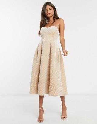 Asos DESIGN Premium quilted velvet bandeau prom midi dress in champagne