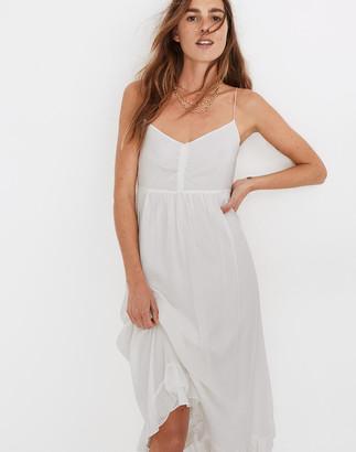 Madewell Silk Ruched Ruffle-Hem Midi Dress