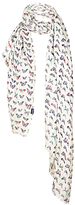 Fat Face Painterley Butterfly Print Scarf, Ivory/Multi