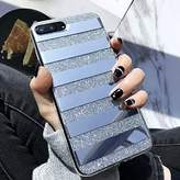 Glitter Powder Phone Case Mirror Reflex Striped Stars Pattern Back Cover for iphone 6 6S 7 7S Plus