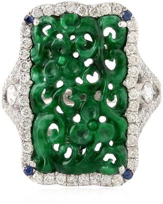 Artisan 18K White Gold Cocktail Ring Jade Carving Gemstone Diamond Jewelry