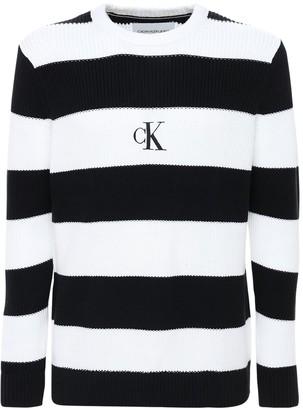 Calvin Klein Jeans Logo Striped Jacquard Knit Sweater