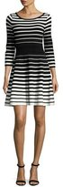Milly Stripe-Print Flare Dress, Black