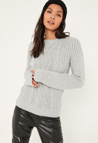 Missguided Grey Cable Sweater