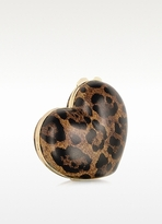 Moschino Animal Print Heart Clutch