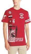 Southpole Men's Short Sleeve Graphic Tee with Logo and Patch Like Graphics