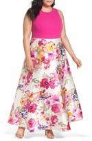 Eliza J Plus Size Women's Solid & Floral Ballgown