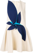 DELPOZO draped appliqué flared dress - women - Cotton/Acetate/Viscose - 36
