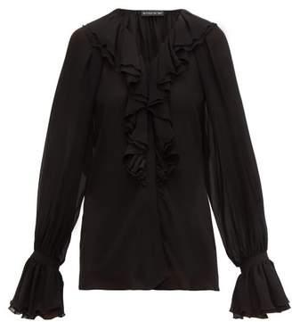 Etro Devon Ruffled Silk-chiffon Blouse - Womens - Black