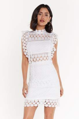 Nasty Gal Womens High Neck Lace Dress - white - L