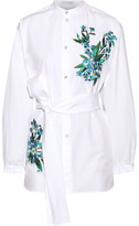 Jonathan Saunders Alex Embroidered Cotton-poplin Shirt - White