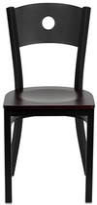 Lomonaco Upholstered Side Chair Winston Porter Color: Black/ Mahogany Wood Seat