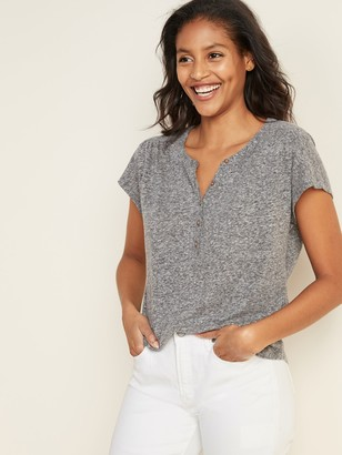Old Navy Loose Linen-Blend Jersey Henley Top for Women