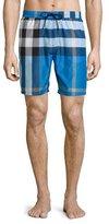 Burberry Mid-Length Check Swim Trunks, Cerulean Blue
