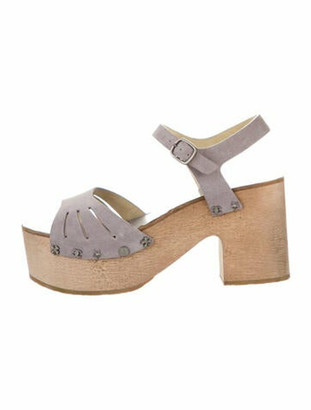 Chanel 2015 Lucky Charms Suede Sandals Sandals Grey