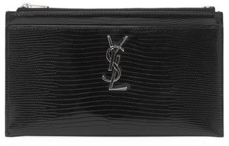Saint Laurent Monogram Croc-Embossed Leather Zip Pouch