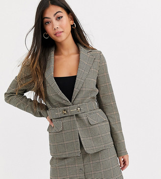 Y.A.S Silla long sleeve check blazer two-piece