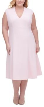 Tommy Hilfiger Plus Size Scuba Crepe Fit & Flare Midi Dress