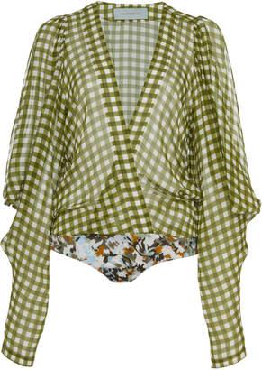 Silvia Tcherassi Hoshi Cold-Shoulder Gingham Silk-Chiffon Bodysuit