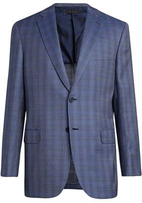 Brioni Plaid Wool-Blend Suit Jacket