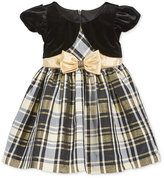 Bonnie Baby Baby Girls' Plaid Taffeta Dress with Faux Shrug