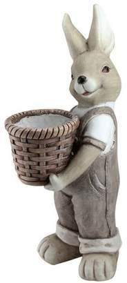 """Northlight 17.5"""" Easter Boy Bunny Rabbit Outdoor Garden Planter - Gray"""