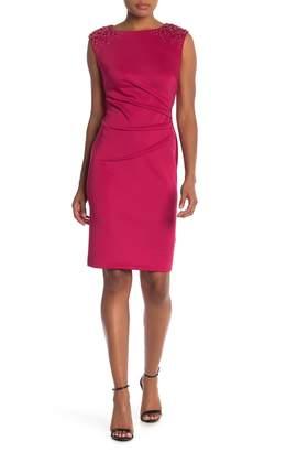 SL Fashions Ruched Waist Embellished Cap Sleeve Dress