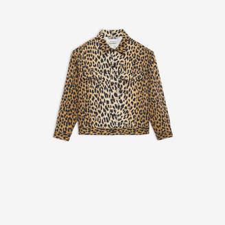 Balenciaga Denim Jacket in beige and black leopard printed cotton drill