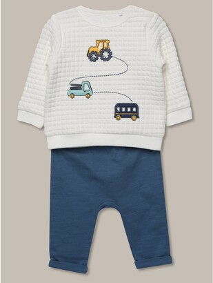 M&Co Waffle top and jogger set (newborn-18mths)