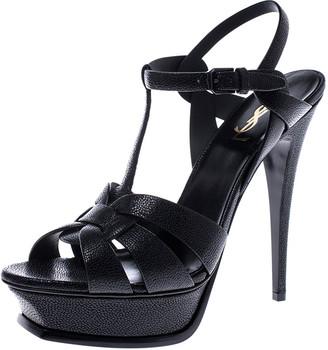 Saint Laurent Paris Black Grained Leather Tribute Platform Ankle Strap Sandals Size 40.5
