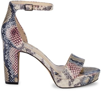 Vince Camuto Snakeskin-Print Leather Ankle-Strap Sandals