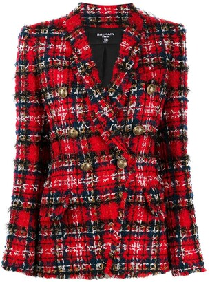 Balmain Tartan Tweed Double-Breasted Blazer