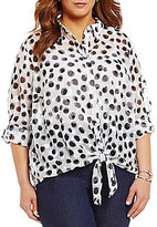 Allison Daley Plus Button Down Tie-Front Printed Blouse
