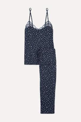 Eberjey Bloom Lace-trimmed Floral-print Stretch-modal Jersey Pajama Set - Navy