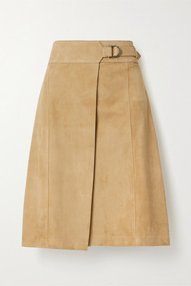 Salvatore Ferragamo Suede Wrap Skirt - Beige