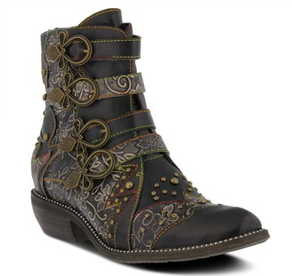 Spring Step L'Artiste Antique Buckle Floral Leather Booties- Rodeha