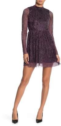 Love, Fire Metallic Shimmer Mock Neck Mini Dress