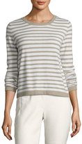 Iris von Arnim Striped Back-Button Cashmere Sweater