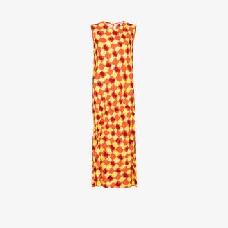 Collina Strada Abstract Check Midi Dress