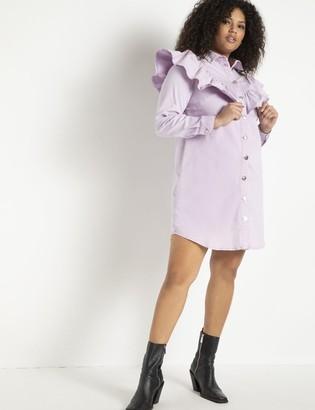 ELOQUII Ruffle Yoke Denim Dress