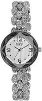 Burgi Women's BUR124SS Swarovski Crystal Accented Faceted Silver Bracelet Watch