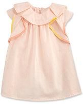 Chloé Flutter-Sleeve Poplin Shift Dress, Pink, Size 12-18 Months